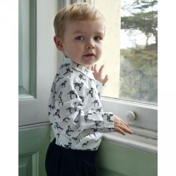 RACHEL RILEY Boys White Cotton Shirt with Dog Print