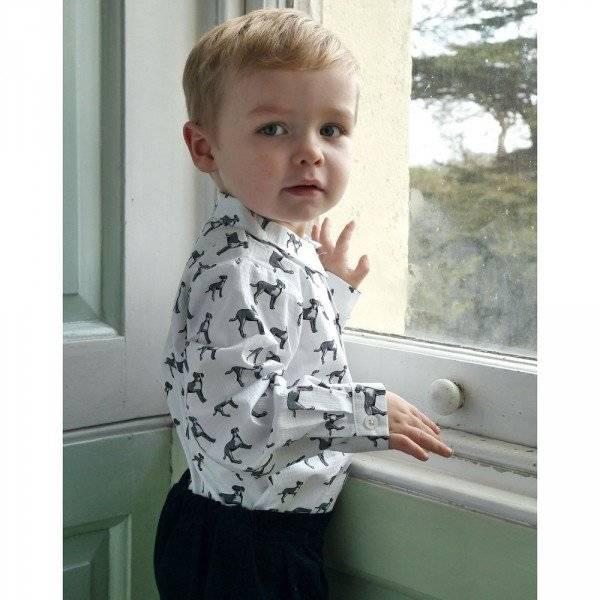 RACHEL RILEY Boys White Cotton Shirt with Dog Print