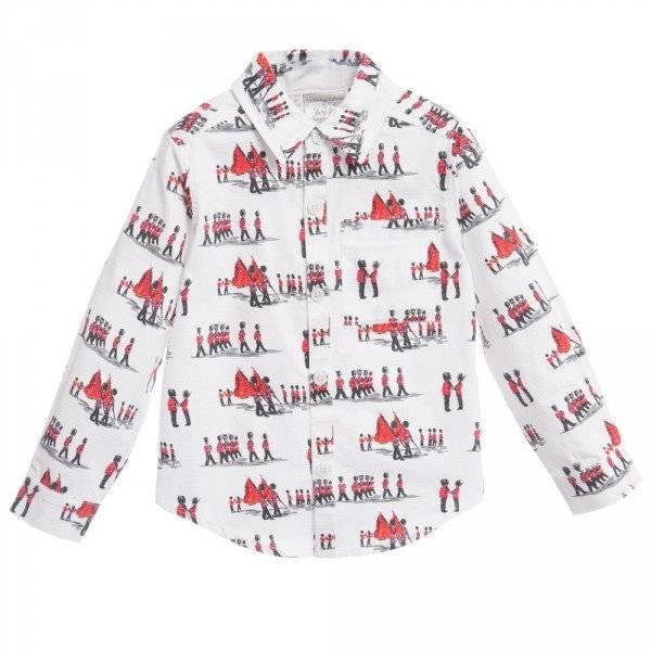 RACHEL RILEY Boys White Cotton Shirt with Soldier Print