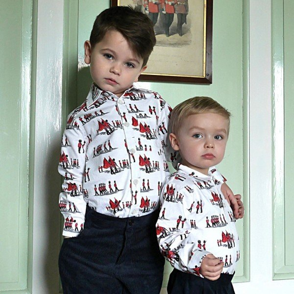 RACHEL RILEY Boys White Cotton Shirt with Soldier Print