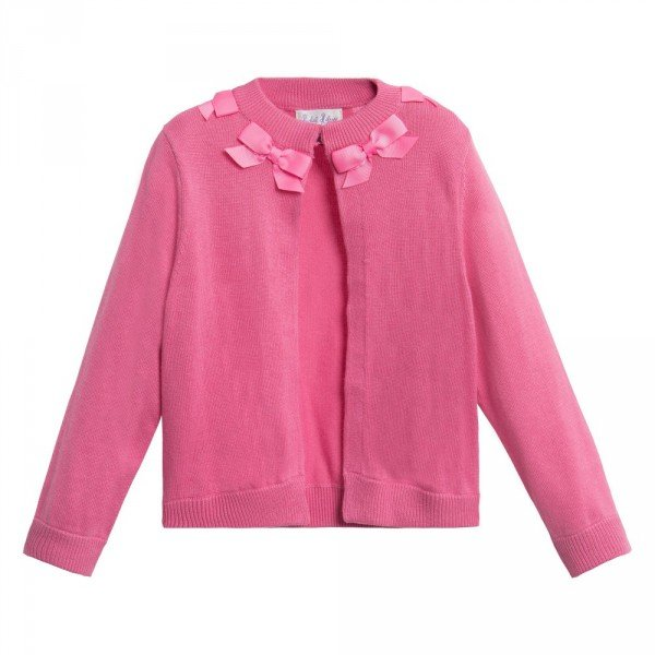 RACHEL RILEY Girls Pink Bow Neck Knitted Cardigan