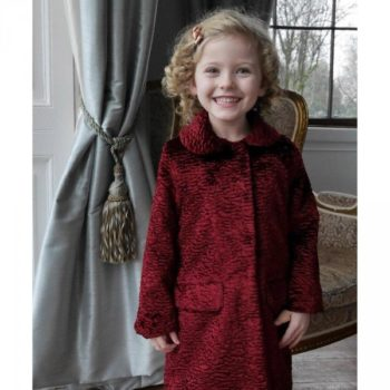 RACHEL RILEY Girls Red Astrakhan Coat