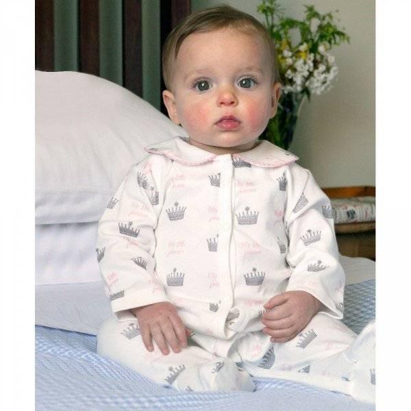 RACHEL RILEY Ivory & Pink Crown Princess Babygrow