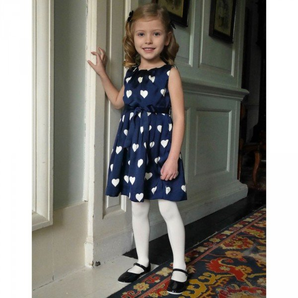 RACHEL RILEY Navy Blue & Ivory Dress with Hearts