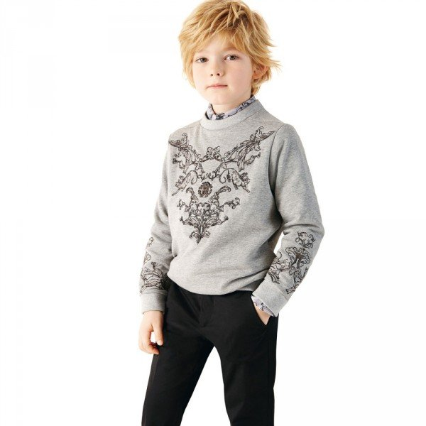 ROBERTO CAVALLI Boys Grey Jersey Embroidered Sweatshirt