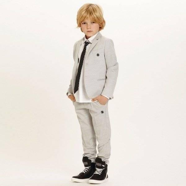 ROBERTO CAVALLI Boys Pale Grey Wool 2 Piece Suit