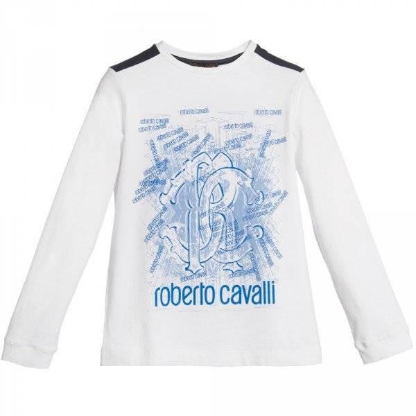 ROBERTO CAVALLI Boys White Logo T-Shirt
