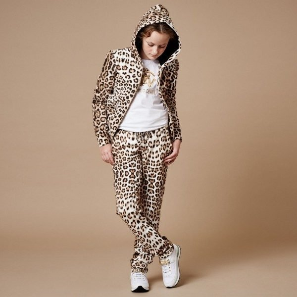 ROBERTO CAVALLI Girls Leopard Print Neoprene Tracksuit