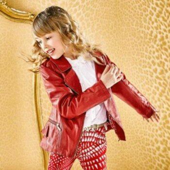 ROBERTO CAVALLI Girls Red Leather Biker Jacket