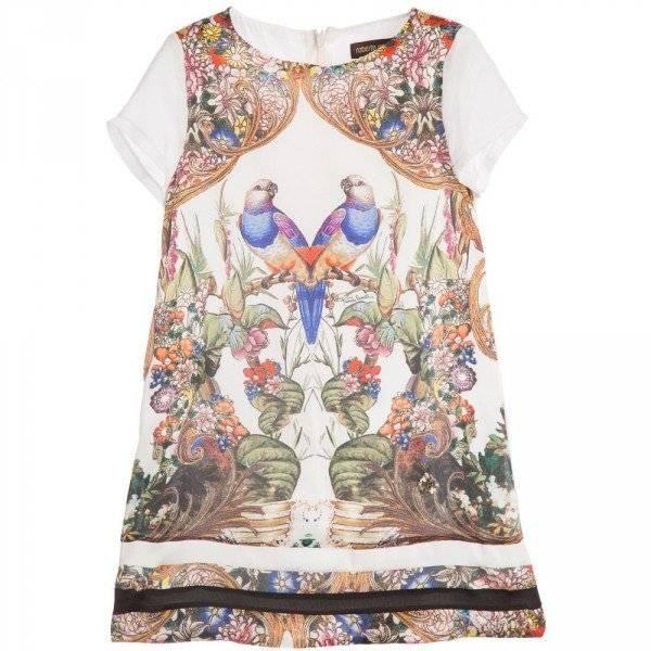 ROBERTO CAVALLI Ivory Baroque Floral Silk Dress