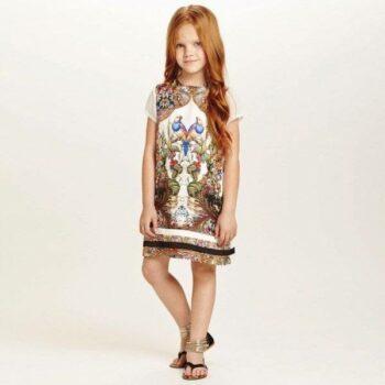 ROBERTO CAVALLI Ivory 'Baroque' Silk Dress