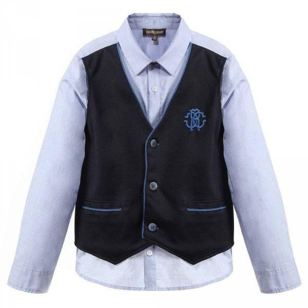 ROBERTO CAVALLI Light Blue Shirt with Attached Waistcoat