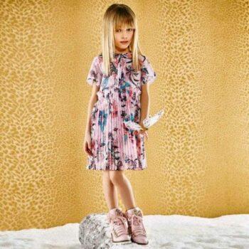 ROBERTO CAVALLI Pink Floral & Snakeskin Chiffon Dress