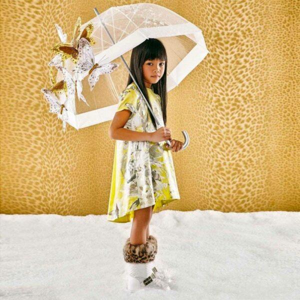 ROBERTO CAVALLI Yellow Silk Dress with Metallic Floral Print