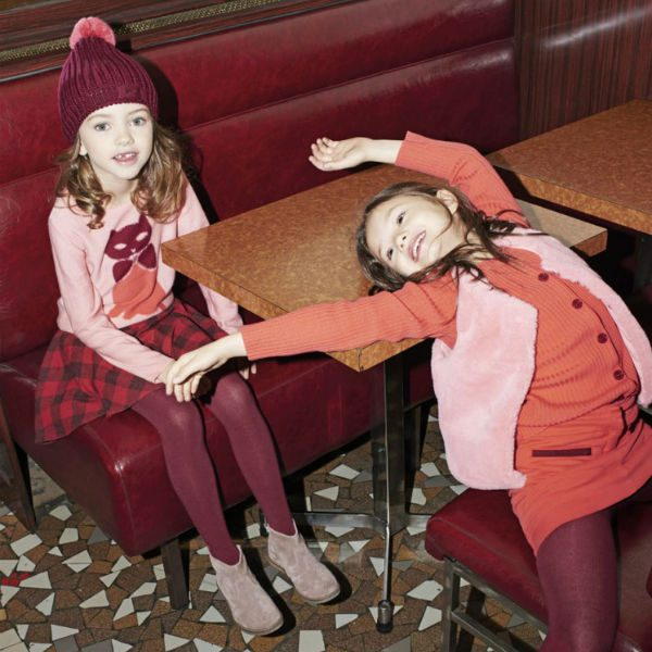Sonia Rykiel Enfant Cat Sweater Checked Red Black Skirt