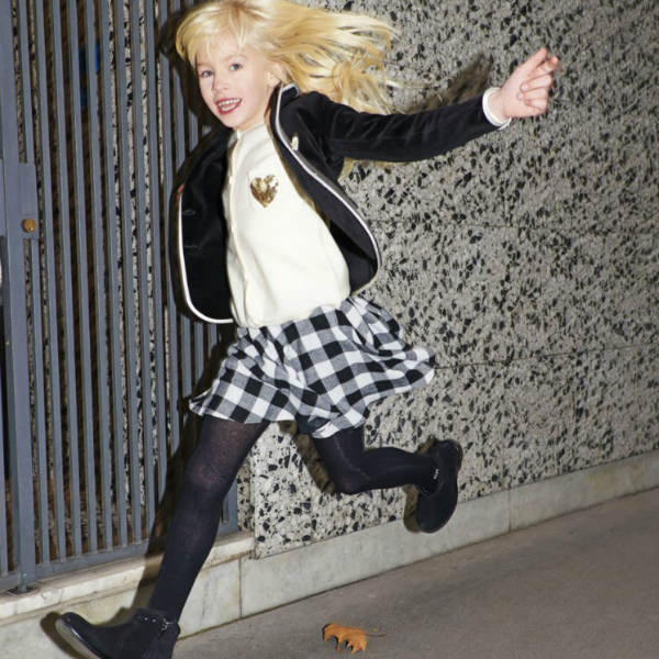 Sonia Rykiel Enfant Black Blazer & Checked Skirt