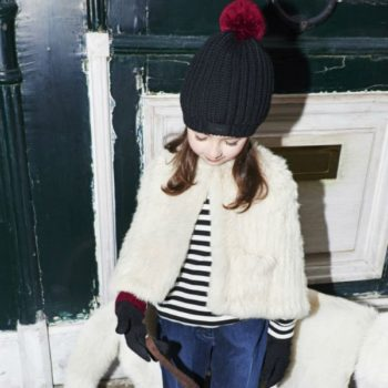 Sonia Rykiel Enfant White Fur Cape Striped Shirt Jeans