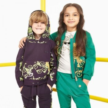 YOUNG VERSACE Boys Blue & Green 'Baroque Dragon' Hooded Top