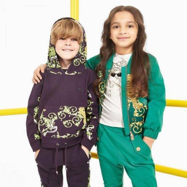 YOUNG VERSACE Boys Blue & Green 'Baroque Dragon' Hooded Top