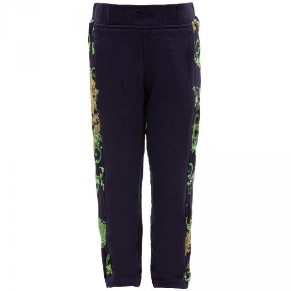 YOUNG VERSACE Boys Navy Blue 'Dragon' Print Tracksuit Trouser