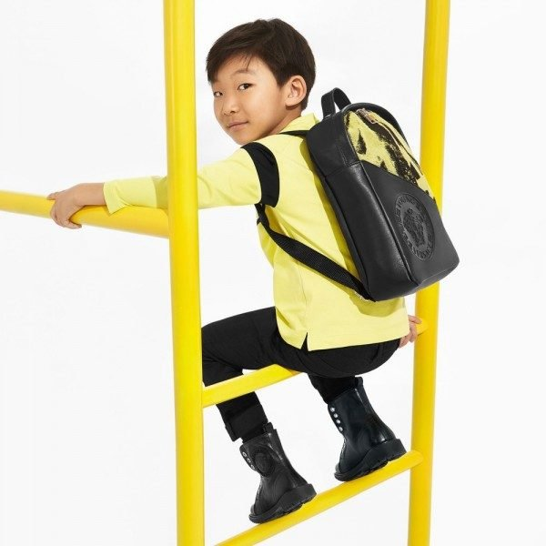 YOUNG VERSACE Boys Yellow & Black Cotton T-Shirt