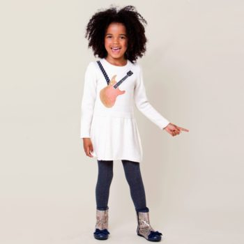 Billieblush Ivory Knitted Dress with Guitar Print