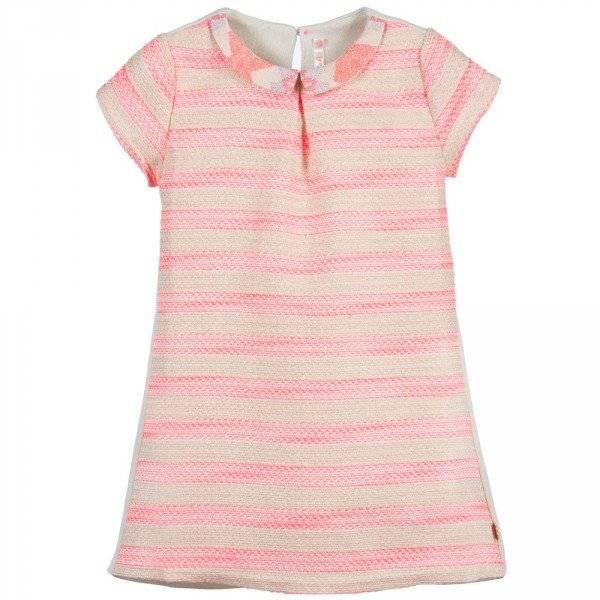 Billieblush Neon Blush Pink Boucle Weave Shift Dress