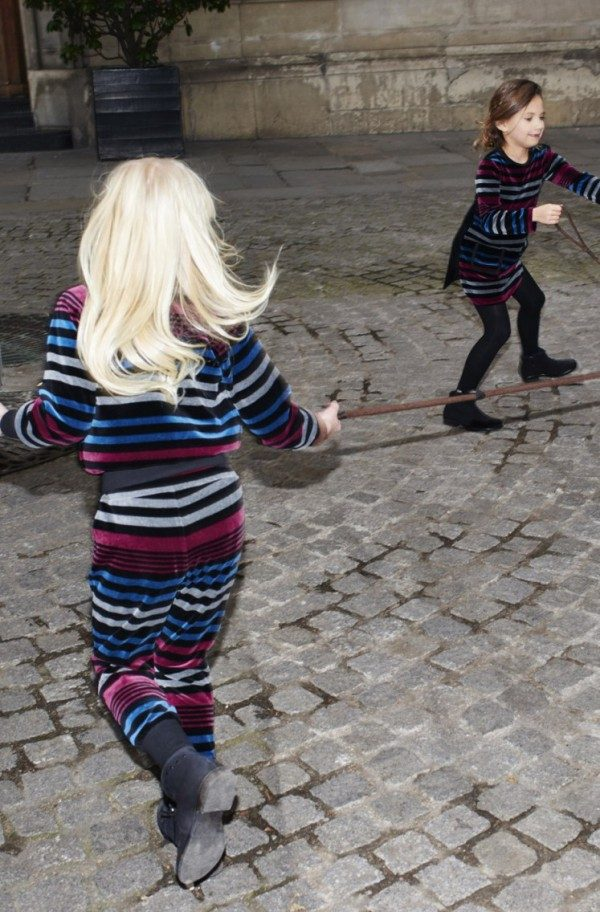 sonia rykiel enfant fw15 velour striped outfit