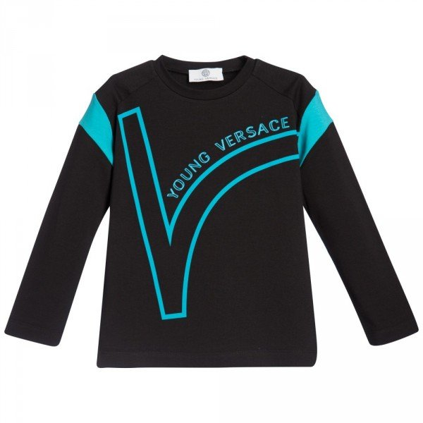 YOUNG VERSACE Boys Black & Turquiose Cotton T-Shirt