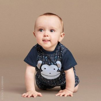 DOLCE & GABBANA Baby Boys Blue Monkey T-Shirt
