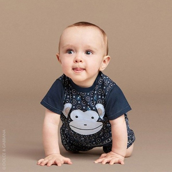DOLCE & GABBANA Baby Boys Blue Monkey T-Shirt