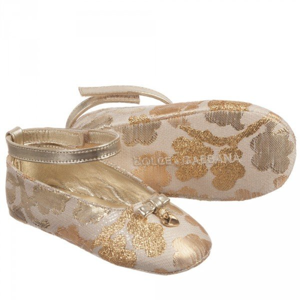 DOLCE & GABBANA Baby Girls Gold Brocade & Leather Pre-Walkers