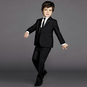 DOLCE & GABBANA Boys Black Wool & Silk 2 Piece Suit