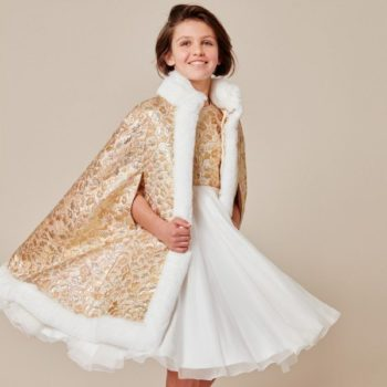 DOLCE & GABBANA Girls Gold Brocade Cape with Fur Trim