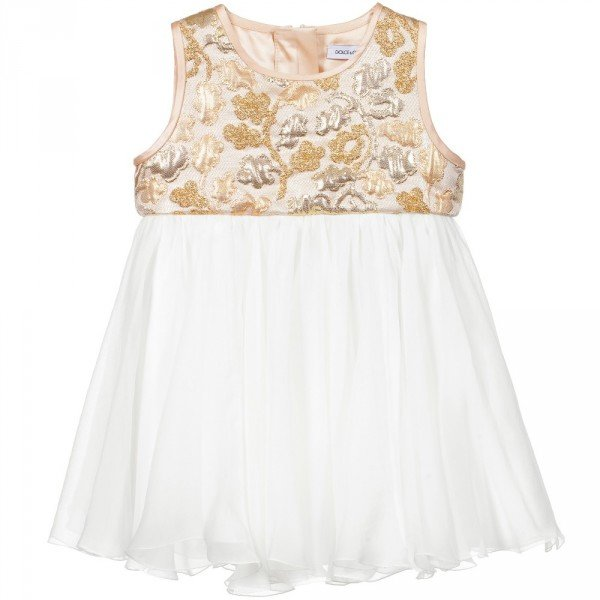 DOLCE & GABBANA Gold Brocade & Silk Baby Dress with Knickers