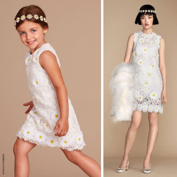 DOLCE & GABBANA GIRLS MINI ME WHITE EMBROIDERED DAISY DRESS