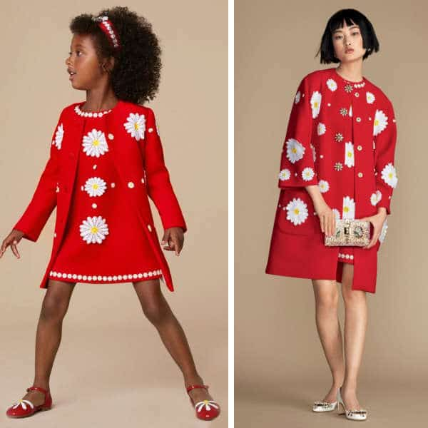 DOLCE & GABBANA RED WOOL CRÊPE DAISY DRESS