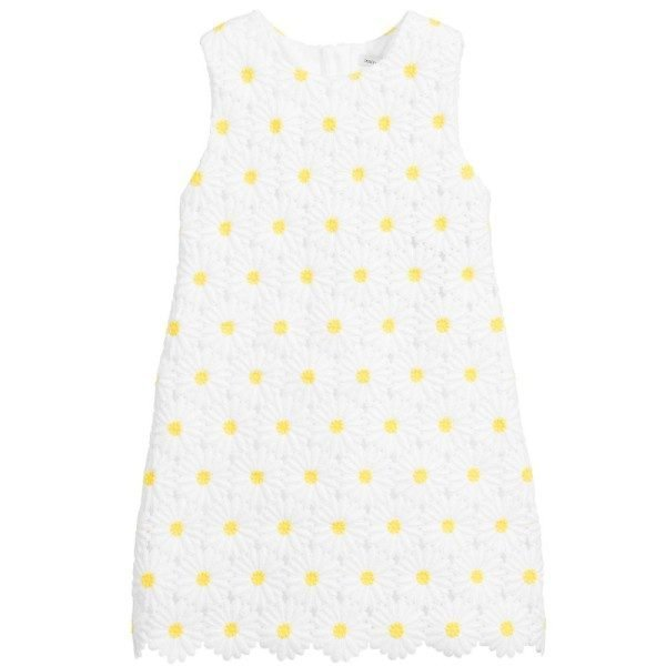 Dolce Ggabbana White Embroidered Daisy Dress
