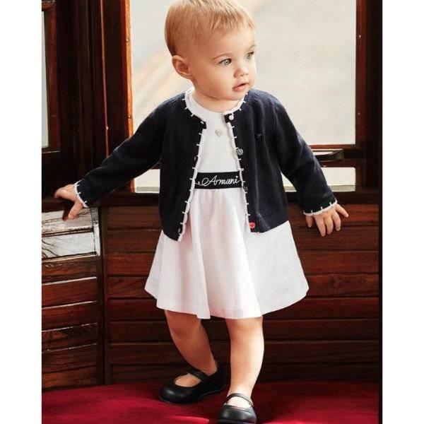 ARMANI BABY Girls White Cotton Dress