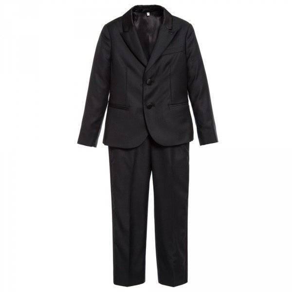 ARMANI JUNIOR Boys Black Wool & Silk 2 Piece Suit
