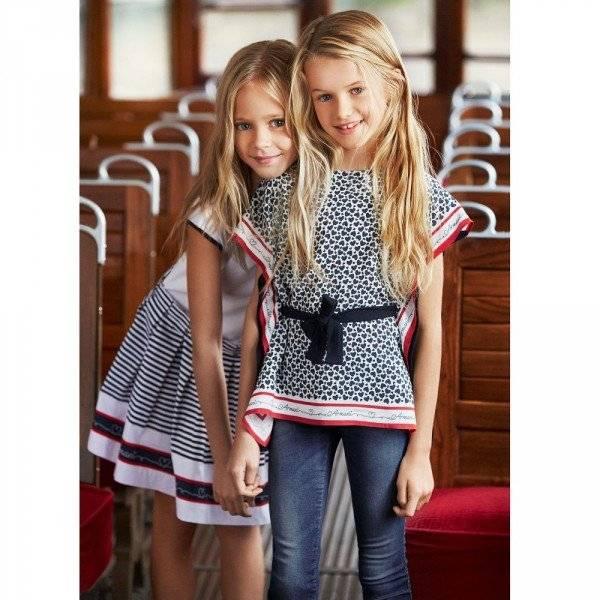 ARMANI TEEN Girls Navy Blue Heart & Logo Print Blouse
