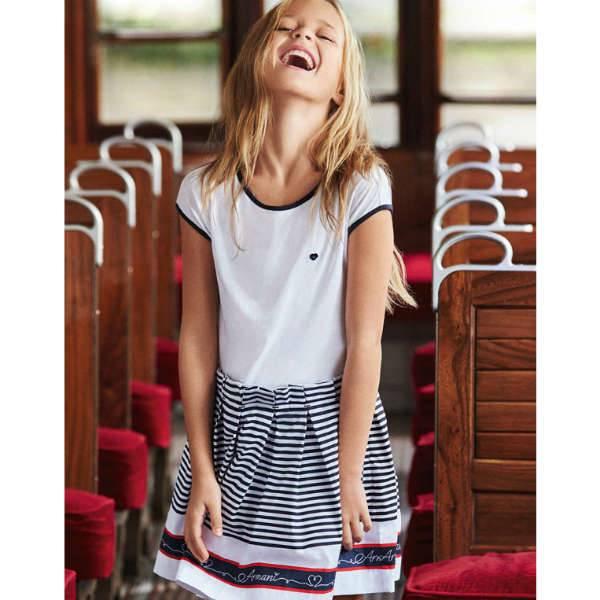 ARMANI TEEN BLUE, RED & WHITE STRIPE NAUTICAL COTTON DRESS