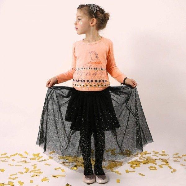 BILLIEBLUSH Girls Pink Knitted Bird Sweater & Black Skirt