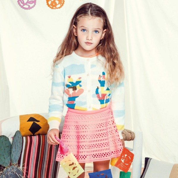 BILLIEBLUSH Neon Pink Laser Cut Neoprene Skirt & Stripe Cacti Knitted Cardigan