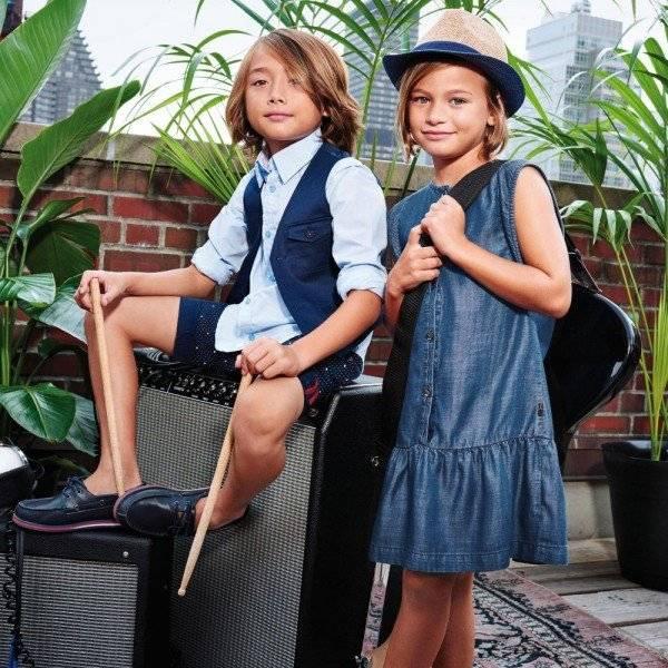 BOSS Girls Blue Soft Cotton Denim Lightweight Dress
