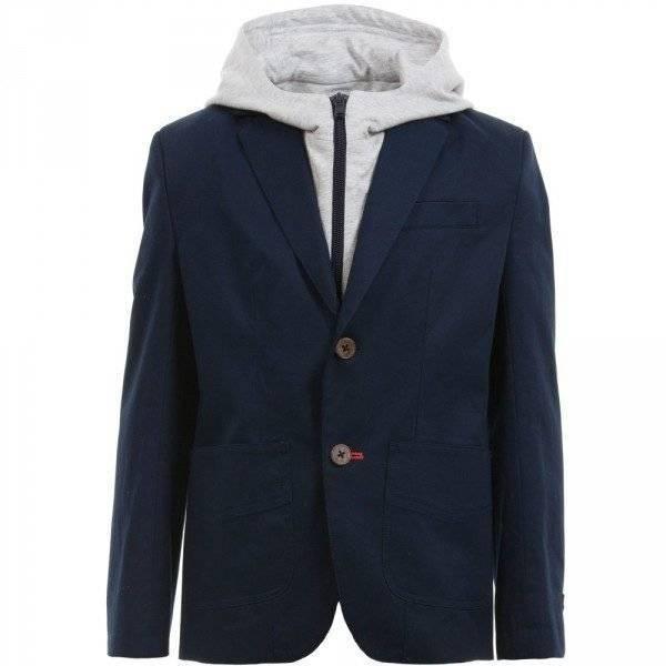 BOSS Boys Navy Blue Blazer with Grey Jersey Hood