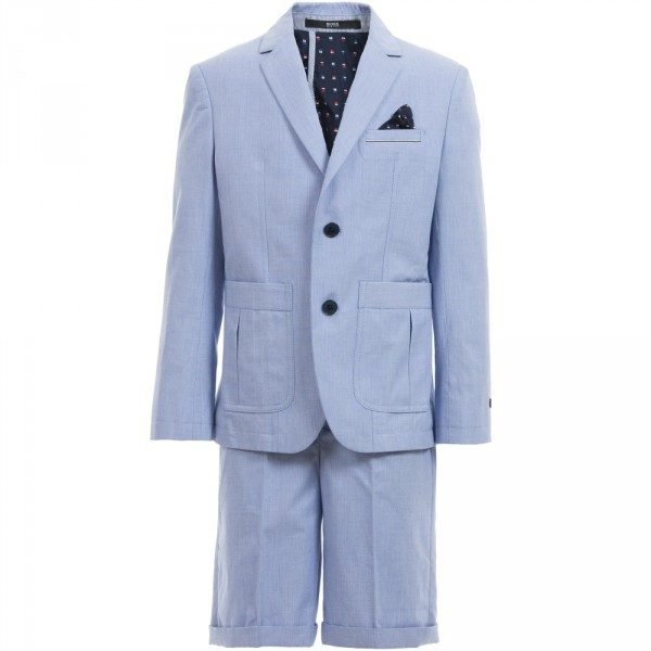 BOSS Boys Pale Blue Cotton 2 Piece Shorts Suit