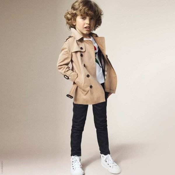 BURBERRY Boys Beige Trench Coat