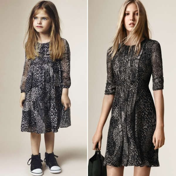 BURBERRY Girls Mini Me Black & White Printed Silk Chiffon Dress