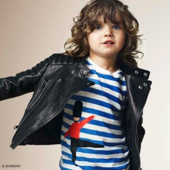 BURBERRY Boys Blue Striped Guardsman T-Shirt